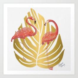 Flamingos on Gold Monstera Leaf Art Print