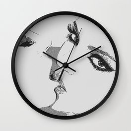 Dirty girls love to play some Naughty games - sexy lesbians kissing, biting lips, hot erotic artwork Wall Clock