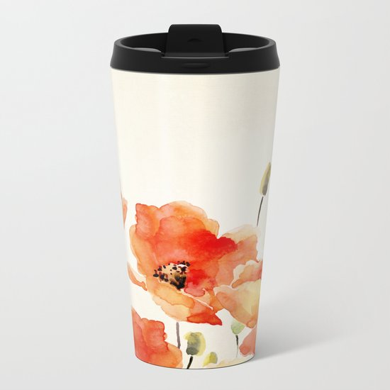 Poppy Flower Meadow- Floral Summer lllustration Metal Travel Mug