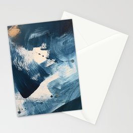 Against the Current: A bold, minimal abstract acrylic piece in blue, white and gold Stationery Cards