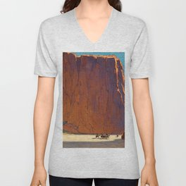 Sunset on the sandstone cliffs, Canyon de Chelly Landscape by Edgar Alwin Payne Unisex V-Neck