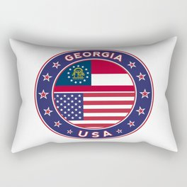 Georgia, Georgia t-shirt, Georgia sticker, circle, Georgia flag, white bg Rectangular Pillow