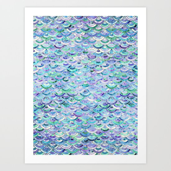 Marble Mosaic in Sapphire and Emerald Art Print