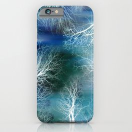 Abstract Midnight Trees Turquoise Teal iPhone Case