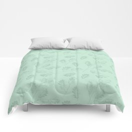 Mint green winter oak leaves botanical illustration Comforters