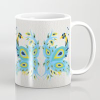 peacock Mugs featuring Peacock by Cat Coquillette
