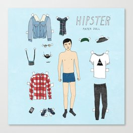 Hipster Paper Doll Canvas Print
