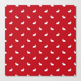 Rabbit silhouette minimal red and white basic pet art bunny rabbits pattern Canvas Print