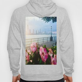 Battery Park New York City Skyline with Pink Hibiscus Flowers Hoody