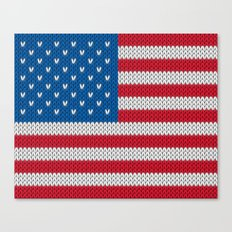 American Flag - knitted Canvas Print