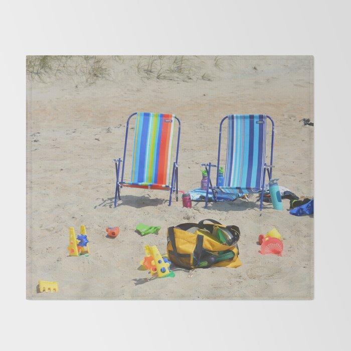 at the beach Throw Blanket