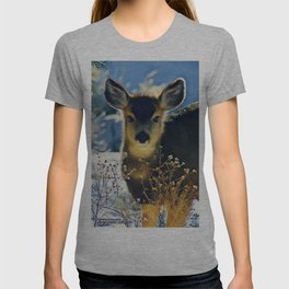 Blue Baby Deer in Winter Light by CheyAnne Sexton T-shirt