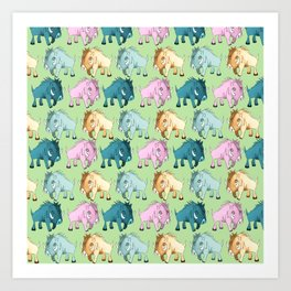 Cute Kawaii Wild Boar Green Watercolor Pattern Print Art Print