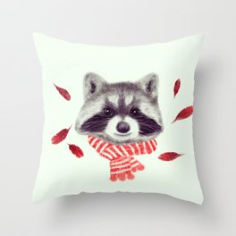 Indi raccoon Throw Pillow