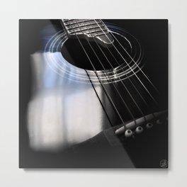 Blue Tone Guitar Instrument Photo Metal Print