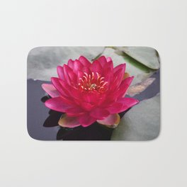Red Waterlily Burgundy Princess Bath Mat