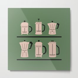 Volturno & French Press Coffee #6 opaque green & vintage pink Metal Print