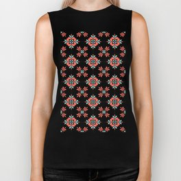 Coral and Aqua Retro Flower Tile Pattern Biker Tank