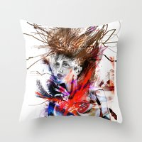lara croft Throw Pillows featuring miss lara croft by yossikotler