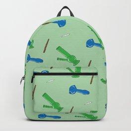 Bongs, Blunts, Joints Pattern Green Backpack