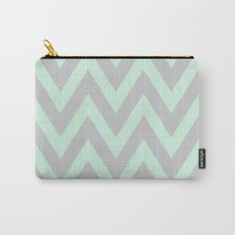 Mint & Gray Chevron Carry-All Pouch