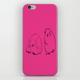 Guinea Pigs - American and Silkie With Hot Pink Background iPhone Skin