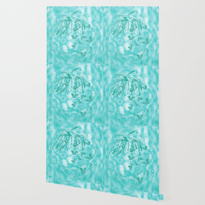Abstract Butterflies In Teal Landscape Wallpaper By