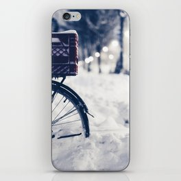 Milk Crate on Bike in Snow iPhone Skin