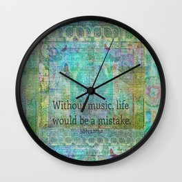 Nietzsche music quote Wall Clock