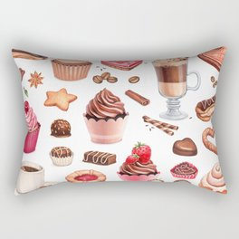 Coffee, chocolate eclair, cinnamon bun and cupcakes illustrations Rectangular Pillow