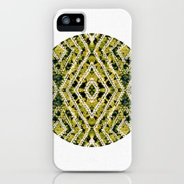 Ochre Circle African Dye Resist Fabric Adire Boho Chic iPhone Case