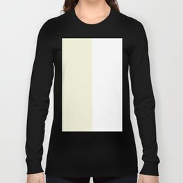 White and Beige Vertical Halves Long Sleeve T-shirt