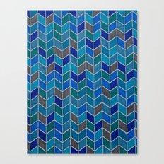 Blue and grey hue chevron Canvas Print