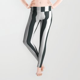 PPG Night Watch Pewter Green & White Stripes, Wide Vertical Line Pattern Leggings