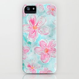 Hand painted teal fuchsia watercolor floral iPhone Case