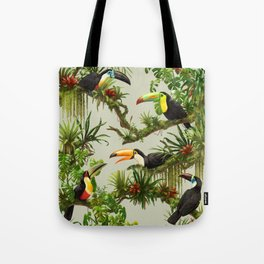 Toucans and Bromeliads (Canvas Background) Tote Bag