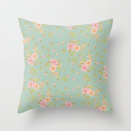 Summer skirt: Dainty floral vintage style pattern Throw Pillow
