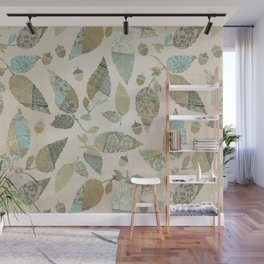 Nostalgic Patchwork Autumn Leaf Pattern Teal Beige Wall Mural