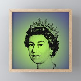 Queen Elizabeth II Green Framed Mini Art Print