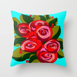 A Bouquet of Big Flowers with a Sky Blue Background Throw Pillow