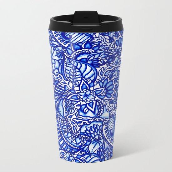 Modern blue handdrawn watercolor floral mandala Metal Travel Mug