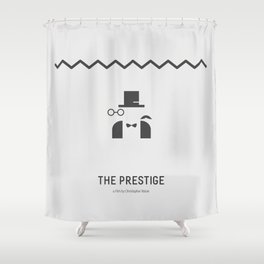 Flat Christopher Nolan movie poster: The Prestige Shower Curtain