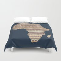 south africa Duvet Covers featuring Africa map by Khamkova Ksenia