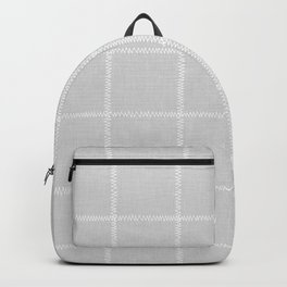 French Grey Linen Check Backpack