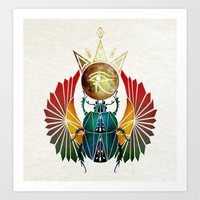 egyptian Art Prints featuring egyptian beetle by Manoou