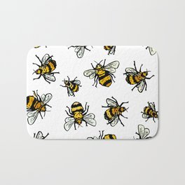 ALL DA BEEZ - White Bath Mat