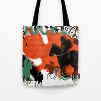 racing Tote Bags featuring Horse Racing by Robin Curtiss