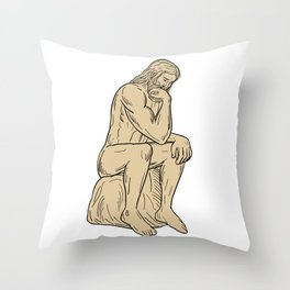 Man With Beard Sitting Thinking Drawing Throw Pillow