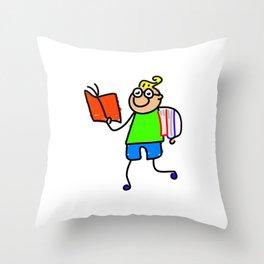 Nerdy Boy Throw Pillow