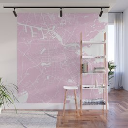 Amsterdam Pink on White Street Map Wall Mural